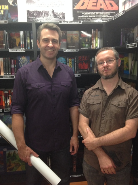 Aaron Sterns (left) and Brett McBean, at prequels' book launch (Notions Unlimited)